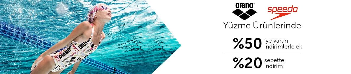 Arena ve Speedo Yüzme ürünlerinde %50 ye varan İndirimlere Ek Sepette %20 İndirim