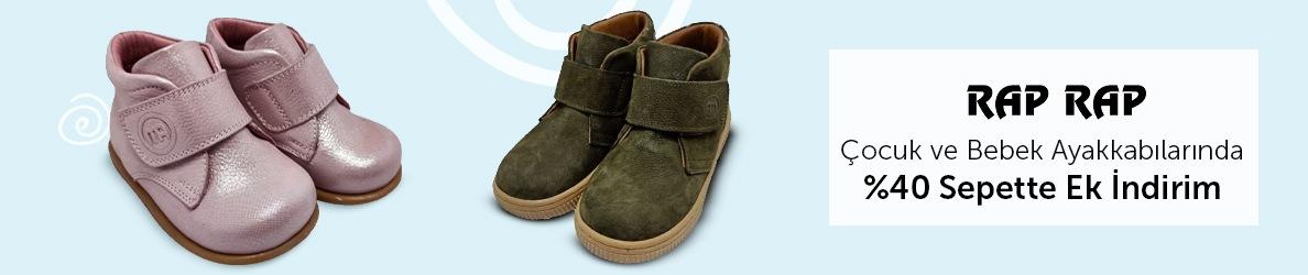 Raprap Çocuk ve Bebek Ayakkabılarında %40 Sepette İndirim