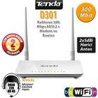 Tenda D301 300MBps 4Port Çift Antenli Adsl2+ Modem Router
