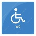 Engelli Wc Şekilli Mavi Tonlu Yönlendirme Levhası