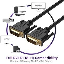 Dvi to Dvi 18+1 Kablo Ara Bağlantı DVI-D 1.8m Monitör TV Bağlama
