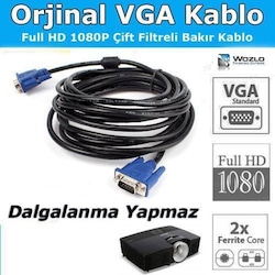VGA KABLO Görüntü Kablosu 1,5metre/3m/5m/10m/15m/ VGA M/M MT