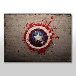 Ahşap Tablo Kaptan Amerika Damlacıklı Logosu Görseli