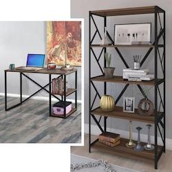 Metal Çalışma Masası Kitaplık Set Ofis Laptop Bilgisayar Masası