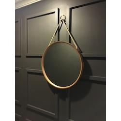 Plania Ahşap Kaplama Halatlı Yuvarlak Dekoratif Ayna