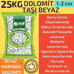 Nif Organik Dolomit Taşı 25 kg Doğal Beyaz Taş , Süs Taşı 1-2 cm