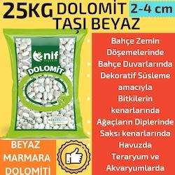 Nif Organik Dolomit Taşı 25 kg Doğal Beyaz Taş , Süs Taşı 2-4 cm