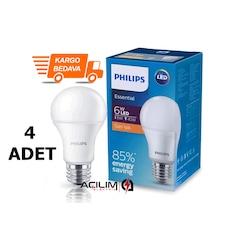 Philips Essential Led Ampul 6W-40W Sarı Renk E27 Duy 4 ADET