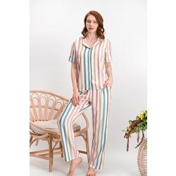 Arnetta Huge Line Krem Düğmeli Kadın Gömlek Pijama Takımı
