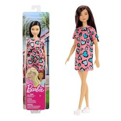 Barbie Koleksiyon Bebek Siyah Saçlı Turkuaz Kalpli Elbiseli