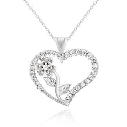 Chavin Kalbimin Gülü Kalpli Gümüş Bayan Kolye de41