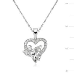 Gümüş Melek Kalp Bayan Kolye