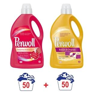 Perwoll Renkliler İçin + Bakım & Onarım İçin Sıvı Çamaşır Deterjanı 2 x 3 L