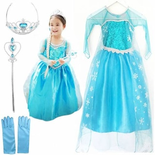 Kız Çocuk Kostümü - Pelerinli Kostümü - Frozen Kostümü Simli - El