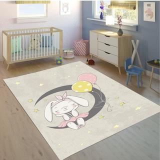 Soley Lateks Süngerli Çocuk Odası Halısı Tavşan