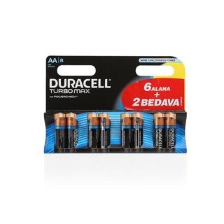 Duracell Turbo Max 6+2 Alkalin AA Kalem Pil 8li