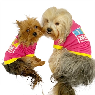 I Love Mom Pink, Oval Yaka Tişört Köpek Kıyafeti Köpek Elbisesi A