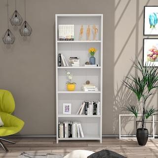 HomeTia 5 Raflı Modern Kitaplık Beyaz