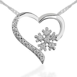 Kalp Kar Tanesi Gümüş Kolye Sevgiliye Hediye tkl15