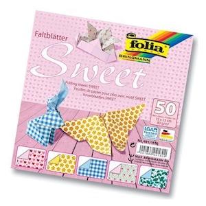Folia Origami Kağıdı 5 Desen 50 Adet Kağıt Sweet 15 X 15 cm