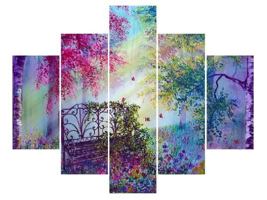 5 Parçalı çiçekli Bahçe Tablo Dikey,150 X 80 Cm