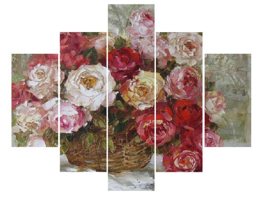 5 Parçalı çiçekli Tablo Dikey,150 X 80 Cm