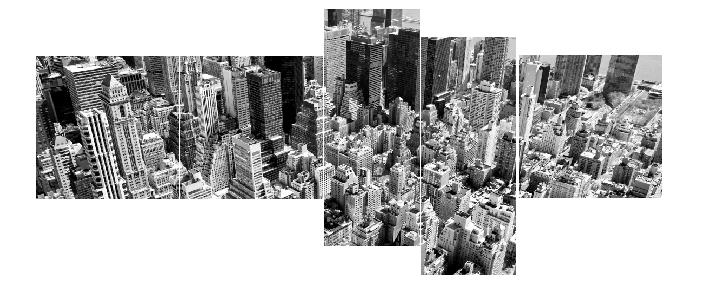 5 Parçalı Şehir Manzaralı Tablo Dikey,150 X 80 Cm