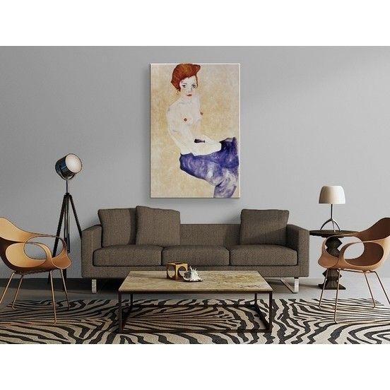 Egon Schiele - Sitzender Blauer Akt Tablo