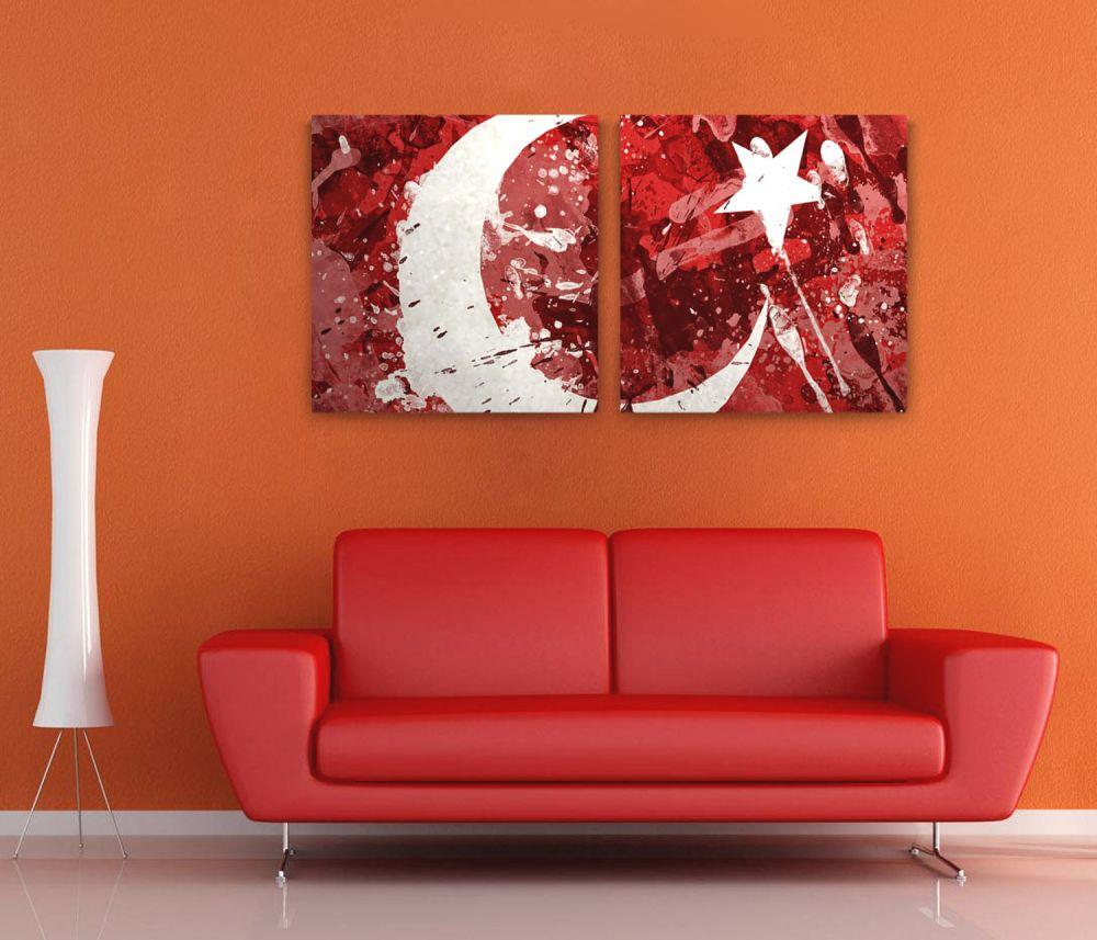 Türk Bayrağı 2 Parça Kanvas Tablo