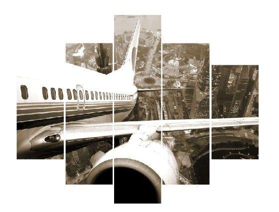 Uçak 5 Parça Kanvas Tablo Dikey,150 X 80 Cm